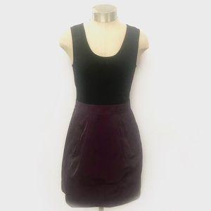 THEORY Black Purple Dristi Wool Blend Mini Dress